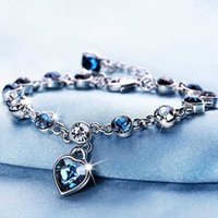 Love Bracelet Bangles Classic ocean heart blue crystal for women alloy fashion simple Metal Valentine's Day gift jewelry wholesale.