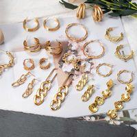 Fashion Vintage Round Hoop Earrings Women 2021 Gold Metal Statement Geometric Dangle Drop Earings Trendy Brincos Jewelry