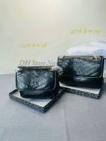 Classic Niki Vintage Calfskin Cadena de cuero Bolsas de hombro Embrague Bolsa de colgajo Desinger Crossbody letra Logo Womens Shopping Bolso Bolso Monedero