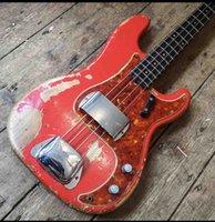Chitarra elettrica personalizzata per basso, Avviato Amped Relic Candy Apple Jazz