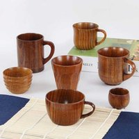 Tazze piattini all'ingrosso retrò stile cinese fatto a mano naturale tazza di tè in legno naturale creativo casa legno caffè bevewtere accessori cucina uf5f