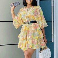 Kadınlar Baskılı Elbise Kek Ruffles Yarım Kollu O Boyun Mini Uzunluğu Çiçek Kadın Moda Afrika Artı Boyutu Bayanlar Vestidos Cobes 210320
