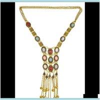 مجوهرات الجسم المجوهرات 3 ألوان المثالي المرأة سير مطلية بالذهب سلسلة الفيروز حبة طويل شرابة قلادة قلادة Y0BD2 سلاسل البطن إسقاط دري