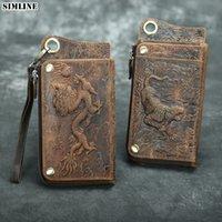 محافظ الكلاسيكية جلد طبيعي الرجال الذكور خمر طويل محفظة حقيبة مخلب حقيبة مع حامل بطاقة جواز سحاب كوين جيب الهاتف المحمول