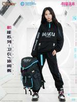 Moda Anime Vocaloid Calças Calças Calças Terno Miku Cosplay Homens Mulheres Casual Roupas Conjunto Fato de Manga Longa Preto Sportswear G1007