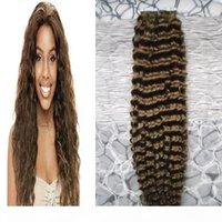 Fita humana brasileira em trama de pele cacheada kinky 100% fita de cabelo humano em extensões de cabelo # 4 fita marrom escura em extensões de cabelo humano 100g 40 pcs