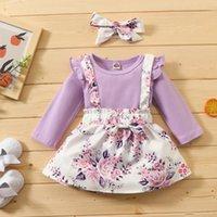 Mädchen Kleider Bobora Herbst Mädchen Baby Feste Farbe Langarm Kleid mit Hosenträger Rock und Licht lila