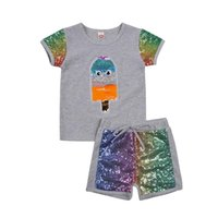 Toddler Girls Clothes Sets Cartoon Sequined Patchwork Short Sleeve T Shirts Shorts Clothing