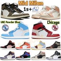 Alto 1 1s zapatos de baloncesto chicago unc polvo azul medio zapatillas de deporte Milán rosa cuarzo cañón óxido sombra lobo gris vela deportes entrenadores de deportes chaussures