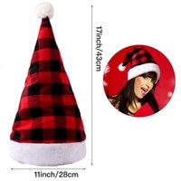 Christmas Hat Beanie With Ball Pom For Adult Man Woman Winter Warm Red Black Plaid Headwear Cap Party