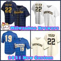 MilwaukeeBrewers Jerseys 22 Christian Yelich 19 Robin Yount Lorenzo Cain Keston Hiura Brandon Woodruff Luis Urias Kolten Wong