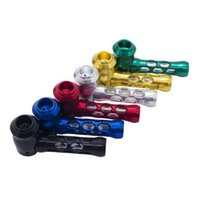 6 Color Refreshing and Breathable Portable Aluminum Smoking Pipes High Quality 101mm Cigarette Dugout Metal Tobacco Pipe