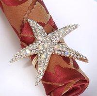 Wholesale 100pcs lot Rhinestone Starfish Napkin Ring Serviette Holder Wedding Decoration Party Favor SN2644