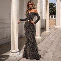 Casual Dresses Long Sleeve Off Shoulder Sequin Maxi Party Evening Dress