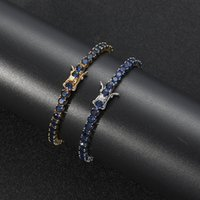 Hip Hop 4MM Tennis Blue Cubic Zirconia Bling Iced Out Chain Bangles Bracelets Unisex 1 Row CZ Link Chains Fashion Rock