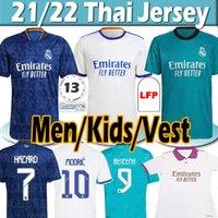 21/22 Real Madrid Futebol Jerseys Sergio Ramos Hazard Benzema 2021 2022 Campeão Especial Asensio Modric Marcelo Jersey Homens Kits Kits de Futebol Camisa Vest Uniformes Tailandês