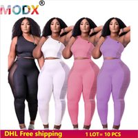 Women's Two Piece Pants Women Sexy Sets Mesh Panelled Jogger Suits One Shoulder Crop Top+Leggings Solid Color Outfits Summer Autumn 5602