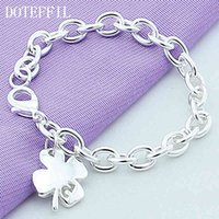 925 Sterling Silver Clover Leaves Lucky Number 5 Bracelet 20cm Chain Women Wedding Engagement Party Jewelry