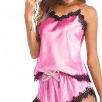 Sexy Solid Color Pajama Womens Sleepwears Set Black Lace V Neck Sleeveless Pyjamas Cute Satin Tops Shorts Pijama Mujer Algodon