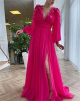 2021 Bright Pink Chiffon Prom Dresses Long Puff Sleeves V Neck Side Slit A-Line Evening Gowns With 3D Butterfly Brithday Party Quinceanera Dress