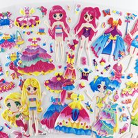 4 feuilles / Set Dress Up Fille Motif dessin animé autocollants enfants Notebook 3D Puffy Bubble autocollant étiquette pour cadeau de filles
