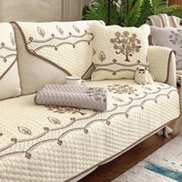 Chair Covers White Embroidery Sofa For Living Room Cotton Cushion Couch Cover Modern Minimalist Corner Towel Seat Pad