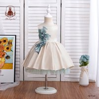Children Big sequins flowers embroidery vest dresses baby kids 1st birthday party clothing toddler girls Bows belt princess dress Q0639