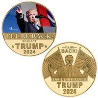 ترامب 2024 عملة تذكارية حرفة الانتقام جولة حفظ أمريكا مرة أخرى شارة معدنية سوف أعود FWF9101