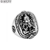 100% 925 Silber Ganesh Buddha Om Ring Elefant Nase Reichtum Gott Gute Glück Cluster Ringe