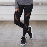 Women's Leggings Sexy Women Gothic Insert Mesh Design Trousers Pants Big Size Black Capris Sportswear Fitness