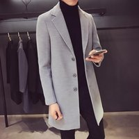 Men's Trench Coats Windbreaker Jacket Autumn And Winter Wool Blended Solid Color Business Fashion Casual Clothing Long Cotton Coat