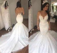 2022 Mermaid Wedding Dresses Bridal Gown Lace Applique Sheer Neck Straps Ruffles Sweep Train Custom Made Plus Size vestido de novia Designer Tulle Satin