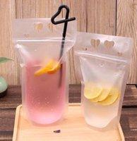 6 ttyles garrafas de água de plástico bolsas de bebida bolsas com palhas 500ml zíper reclosable não-tóxico descartável recipiente de mesa de recipiente de recipiente