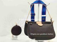 여성 2021 LuxUrys 디자이너 가방 포 셰트 지갑 토트 숄더 크로스 바디 가죽 체인 지갑 어머니 오래 된 꽃 8 색 클래식 블루