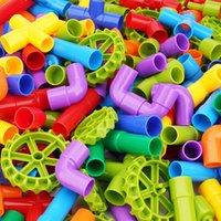 Bloque de tubos Tubería Tunnel Tunnel Ruedas de coche Bloques de bricolaje Bloques de tallo creativo Kit educativo Bloque de tubería juguetes para niños