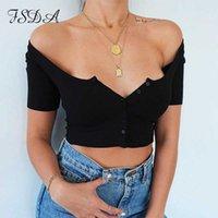 FSDA quadrado pescoço de manga curta malha colheita top branco mulheres 2020 verão ribber casual camiseta botão preto básico sexy tops y0606