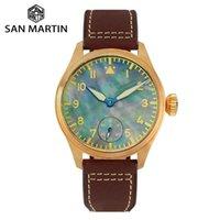 Сан-Мартин бронзовый моп с циферблатом мужские часы для дайвера Смотреть обратно Чайка 6498 Механическая рука ветер сапфировые наручные часы