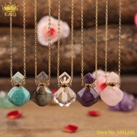 Pendant Necklaces Fashion Women Small White Pink Amethysts Quartz Crystal Essential Oil Diffuser Perfume Bottle Necklace Jewelry Wholesale