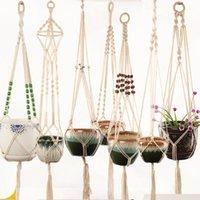 Hanging Baskets Macrame Handmade Cotton Rope Pot Holder Plant Hanger Flower For Indoor Outdoor Boho Home Decoration Countyard Garden With Wood Beads