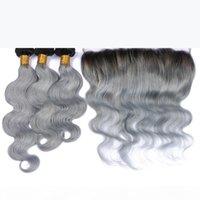 O corpo brasileiro onda cinza tecer 3 pcs com laço completo prata frontal cinza extensões de cabelo ombre com fecho 1b cinza raiz escura