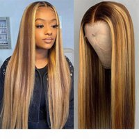 P4 30 하이라이트 컬러 인간의 머리 가발 T 모양의 HD 레이스 프론트 인간의 머리 가발 옴 브레 레미 정면 오렌지 생강 레드 99J