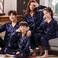 Family Pajamas Set Silk Satin Adult Women Kids Family Matching Clothes Children Female Sleep Two Piece Set Loungewear Plus 1877 Y2