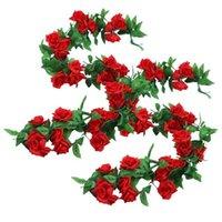 Decorative Flowers & Wreaths 2 Pcs Artificial Rose Bunch Autumn Small Peony String Decor Silk Fake Garland For Wedding Home El Garden Decora