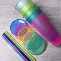 미국 주식 텀블러 작은 단단한 반투명 덮여 워터 컵 짚 혼합 색 1LOT-5PCS 빛나는 가을 증거가 깨지지 않는 증거