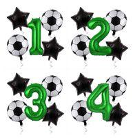 Gihoo 5pcs / lot 18 بوصة كرة القدم احباط بالون لكرة القدم موضوع 32 بوصة رقم 0 1 2 3 4 5 6 7 8 9 عيد ميلاد حزب الديكور للأولاد