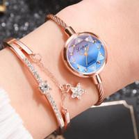 Pulseira Assista Mulheres Gradiente Small Dial Senhoras Relógios Definir 2 Pcs Beautiful Star Pingente Knotted Gift WristWatches