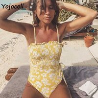 Yojoceli summer spring holiday floral print bodysuit women shirred bodycon boho beachwear bikini 210609