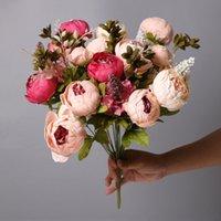 47cm Rose Rosa Seide Pfingstrose Künstliche Blumen Blumenstrauß 6 Großer Kopf und 2 Knospe Fake für Haus Hochzeit Dekoration Dekorative Kränze