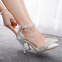 Sandals Women's high-heeled crystal shoes, shiny white wedding shoes with diamonds for nights, bridal slippers. ISZX
