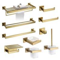 Bath Accessory Set Gold Brushed Bathroom Accessories Hardware Towel Bar Rail Toilet Paper Holder Rack Hook Soap Dish Brush